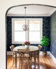 Insta: hyggeandwest :: All over printed wallpaper is all you need to transform your tired dining room