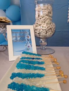 frozen party food ideas: rock candy and   yogurt covered pretzels
