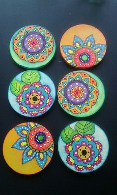 Best 11 6 x hand painted bamboo coasters with stand Mandala Painting, Ceramic Painting, Stone Painting, Painted Bamboo, Painted Rocks, Hand Painted, Cd Crafts, Arts And Crafts, Pottery Painting Designs