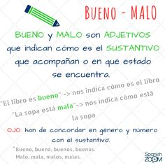 """Un error muy frecuente cuando estás aprendiendo #español es el uso incorrecto de """"#bien"""", """"#bueno"""", """"#mal"""" y """"#malo"""". Esperamos que estas #PíldorasDeAprendizaje te sean de ayuda 😍 #aprenderespañol #enlínea #learnspanish #online #clasesdeespañol #nivelA1 #spanishlessons #levelA1 #idiomas #languages #zoom #learnspanishwithspanishzoom #spanishzoom"""
