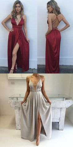 Silk Satin A Line Floor Lengwth V Neck Spaghetti Straps Open Back High Slit Nature Waist Fully lined 100% polyester Spot clean Prom,Formal,Pageant