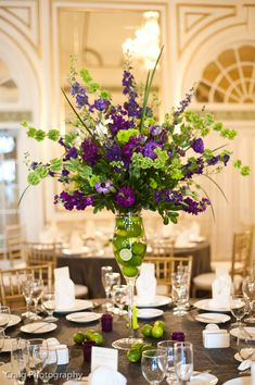 Wedding Details at the Edgeworth Club in Sewickley PA / design I did in lime green and purples Lime Green Weddings, Purple And Green Wedding, Purple Wedding Flowers, Floral Wedding, Wedding Bouquets, Gold Wedding, Tall Wedding Centerpieces, Floral Centerpieces, Reception Decorations