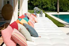 How would you like to jump into these pillows, & soak some rays?  Make your Rising Barn awesome.  Risingbarn.com  #pillows #outdoor #decor #couch #huge #loveseat #large #pool #design #fun #relax #comfortable #2017