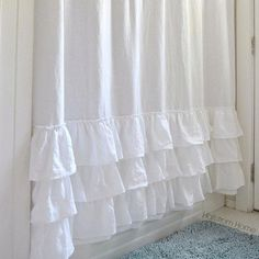 Three Ruffles Linen Shower Curtain White Shabby Chic Girls Bathroom Farmhouse