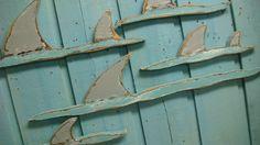 Shark Fins Sign Beach House Shark Week Wall Art by CastawaysHall