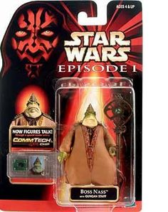 Hasbro Star Wars - Boss Nass Figure by Hasbro. $6.27. Includes Gungan Staff. Boss Nass Action Figure. Also comes with CommTech Chip that works with the CommTech Reader (Sold Seperatley).. Amazon.com                Two distinct races inhabit the besieged planet of Naboo: the  human surface-dwellers and the amphibious Gungans, led by the wise but  distrustful Boss Nass. Authentically styled with all the intricate  detailing that fans have come to expect of the Star W...