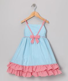 Another great find on #zulily! Gidget Loves Milo Blue & Red Gingham Ruffle Dress - Infant & Toddler by Gidget Loves Milo #zulilyfinds