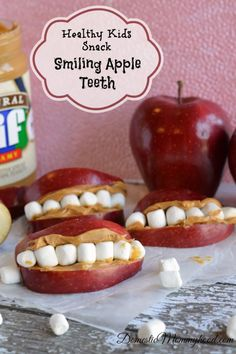 Healthy Kids Snack: Smiling Apple Teeth #backtoschoolsnack #applesnack #halloween