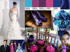 Pink, Purple, and Blue Inspiration : PANTONE WEDDING Styleboard : The Dessy Group
