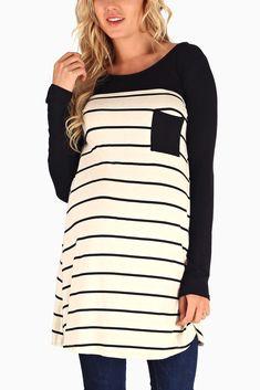 Ivory-Black-Top-Striped-3/4-Sleeve-Maternity-Tunic