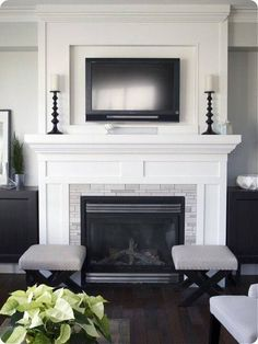 ✓ 84 Fireplace Design Ideas To Inspire Your Home Fireplace Remodel 14 Modern Fireplace Mantles, Wood Mantle Fireplace, Tv Over Fireplace, Simple Fireplace, Brick Fireplace Makeover, Fireplace Remodel, Living Room With Fireplace, Fireplace Surrounds, Fireplace Design