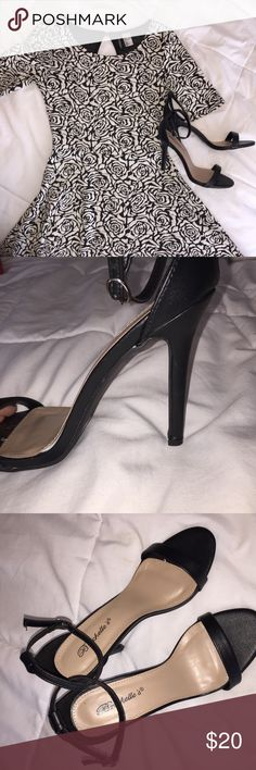 Single Ankle Strap High Heels Open toed, single ankle strap high heels! Worn once! Box not included! Heel measures to be about 3.5 inches. Happy to bundle 💕 Smoke free home 🌿 Shoes Heels