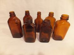 Vintage Lot APOTHECARY BROWN GLASS Bottles Medicine ANCHOR HOCKING BROCKWAY. I used to collect these until they all broke =(