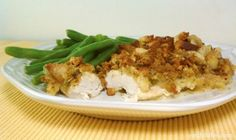 Cheesy Chicken and Stuffing - one of my favorite comfort foods and SO fast and easy to make! Just 304 calories or 8 Weight Watchers SmartPoints per serving. www.emilybites.com