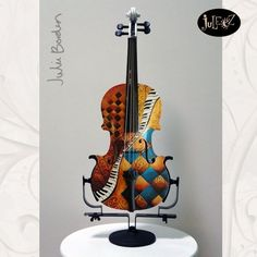 Hand Painted Violin by Julie Borden -Harlequin Jazzy Teal Violin Art, Custom Paint, Musical Instruments, Arts And Crafts, Diy Crafts, Musicals, Sculptures, Hand Painted, Creative