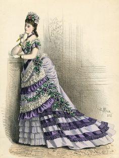 March ballgown, 1875 France, L'Élégance Parisienne
