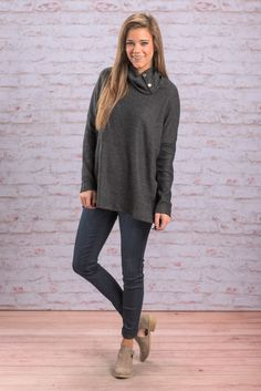 """""""Way To Him Tunic, Charcoal"""" This fab tunic is very similar to one you have been going gaga over! This one is just a different fabric! #newarrivals #shopthemint"""