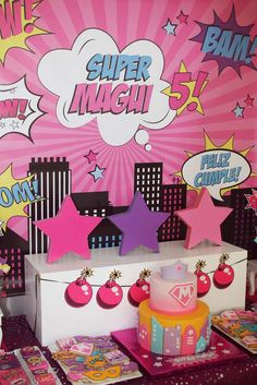 Superheroes Birthday Party Ideas for Girls - lots of great colorful ideas here! Superhero Party Decorations, Girl Superhero Party, Batman Party, Birthday Party Decorations, Birthday Parties, Superhero Superhero, Barbie Birthday, Barbie Party, Girl Birthday