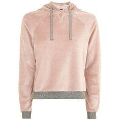 Topshop Nude Velour Loungewear Hoodie ($29) ❤ liked on Polyvore featuring tops, hoodies, sweaters, outerwear, sweatshirt, hooded pullover, pink hooded sweatshirt, hooded sweatshirt, pink hoodies and hoodie top