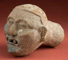 Pre-Columbian:Ceramics, Important, Dramatic Maya Head of the Old Fire God for DispensingIncense Smoke...