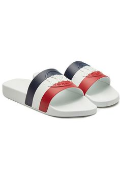 Moncler Basile Rubber Slides In White Mens Flip Flops, Chanel Jewelry, Valentino Garavani, Moncler, Casual Chic, Neiman Marcus, Men's Shoes, Sporty, Pairs