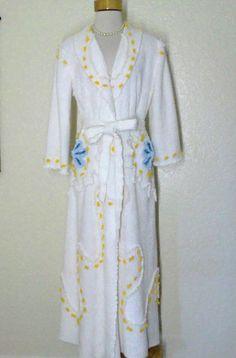 Vintage 50's Style Chenille Cotton Robe Bathrobe
