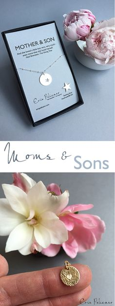 Mother Son is a beautiful bond. Jewelry to Celebrate Mom for her birthday, Mother of the Groom gifts, or Baby Shower Gifts