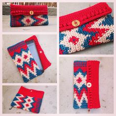 Tapestry Crochet Mobile Case / Purse /// Häkel Handy Tasche / Hülle