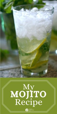 Easy to Make Mojita Cocktail Recipe | Here is my simple mojito recipe for a sweet and minty drink. Party Food And Drinks, Holiday Drinks, Fun Drinks, Yummy Drinks, Cold Drinks, Beverages, Drinks Alcohol Recipes, Cocktail Recipes, Cocktails