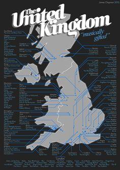 Map of UK Music A1 by JamesSHOPMAN on Etsy, £15.00