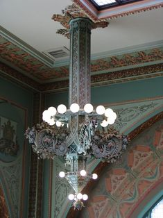 Chandelier by Sullivan & Elmslie (Louis H. Sullivan & George Grant Elmslie Patinated Bronze and Glass. Designed for the National Farmer's Bank, Owatonna, Minnesota Historical Architecture, Art And Architecture, Architecture Details, Beautiful Architecture, Louis Sullivan, Art Nouveau, Design Movements, Chicago Style, Lanterns