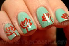 mint and red nails