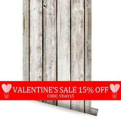 Valentine's Sale  White Vintage Wood Self Adhesive by AccentuWall