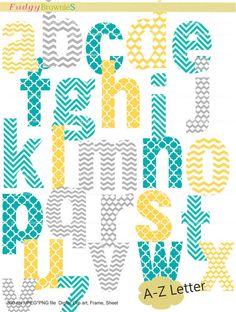 Digital clip art  set  Alphabet  letter AZ  for by fudgybrownies