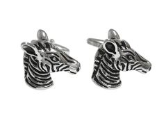 Silver Toned Zebra Head Cufflinks