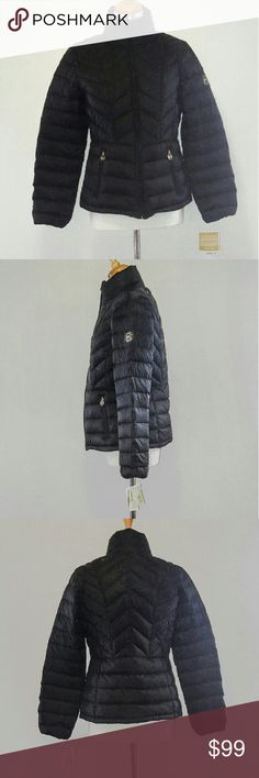 New Michael Kors Black Down Jacket Size Medium New with tags! This is the beautiful quilted lightweight black down jacket by designer Michael Kors in size medium! This authentic Michael Kors down jacket is stylish, warm and weatherproof so it covers all your needs for cool weather! It comes with a bag and you can pack the jacket in the bag. A shiny gold zipper and gold MK Michael Kors monogram logos on the front pockets dress up this jacket for a gorgeous style statement!  Awesome! Michael…
