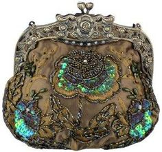 Antique Beaded Rose Evening Handbag, Clasp Purse Clutch w\ Removable Chain