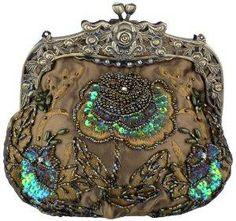 Antique Beaded Rose Evening Handbag, Clasp Purse Clutch w\ Removable Chain