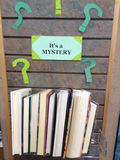 It's a mystery library display to get kids excited about books!