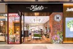 This Kiehl's boutique fitout in Australia by Ramvek features niche shelving, brickwork and a consultation table. Red Design, Kiehls, Brickwork, Retail, Melbourne, Mall, Projects, Group, Home