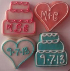 Wedding Cookies - I like the heart with initials
