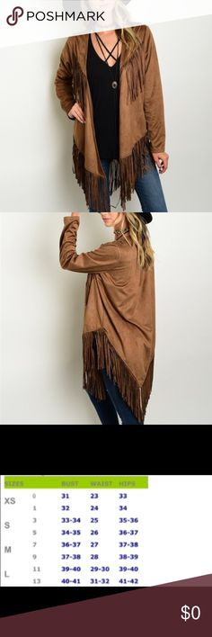 Camel Fringe Jacket Perfect Fall piece!  This fringe jacket will go well with many of your fall pieces!  Material: 100% polyester.  Price is firm unless bundled.  ☺️ Poema Jackets & Coats
