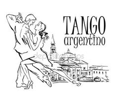 Dibujo de vector hecho mano de bailarines de tango — Archivo Imágenes Vectoriales © ring-ring #97223364