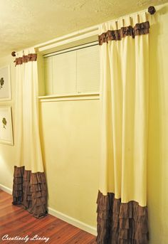 Creatively Living: Ruffled Curtains Lengthen Curtains, Ruffle Curtains, Drop Cloth Curtains, Boho Curtains, Burlap Curtains, Green Curtains, Floral Curtains, Velvet Curtains, Grommet Curtains