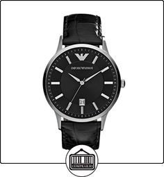 caa2b91367c8 Emporio Armani Round Silver   Black Watch with Crocodile Embossed Strap…