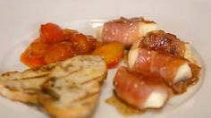 Parma ham wrapped mozzarella with plum chutney