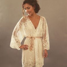 HELENA Kimono - Made to Order Ivory Guipiere lace lingerie Getting Ready  Kimono - Trousseau 2514287ab