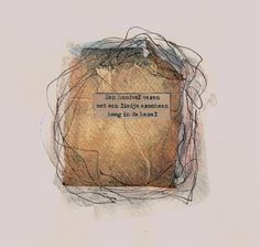 Zakje 1 Used teabag, part of a poem by Johanna Kruit, fineliner and watercolour