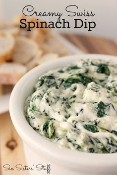 This Creamy Swiss Spinach Dip from SixSistersStuff.com is perfect for vegetables, breads, or crackers. Only 4 ingredients!