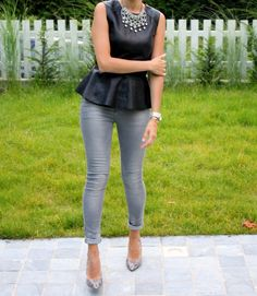 Looking for new ways to wear old things. Love my leather peplum and will be trying this when the weather gets warmer Dressy Casual Outfits, Cool Outfits, Fashion Outfits, Fashion 2014, Casual Chic, Peplum Top Outfits, Vest Outfits, Urban Fashion, Fashion Looks